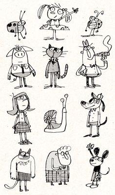 Fred Blunt Doodles ★★★ Find More inspiration ★★★ … Children's Book Illustration, Character Illustration, Digital Illustration, Cartoon Drawings, Cartoon Art, Desenho Kids, Doodle Characters, Cartoon Characters, Pen Doodles