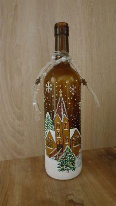 Wine Bottle Glasses, Wine Bottle Art, Glass Bottle Crafts, Painted Wine Bottles, Lighted Wine Bottles, Wine Bottle Design, Christmas Wine Bottles, Bottle Painting, Pots