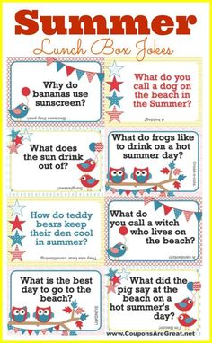 Printable Summer Lunch Box Notes Using Summer Jokes for Kids - Coupons Are Great kids lunch box ideas Summer Jokes For Kids, Thanksgiving Jokes For Kids, Kids Lunch For School, Funny Jokes For Kids, Kid Jokes, School Lunches, Baby Jokes, Box Lunches, Lunch Notes