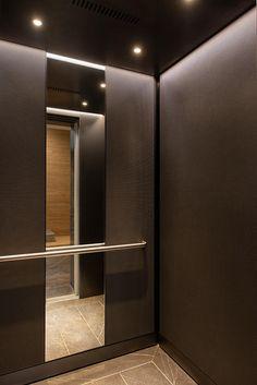 Elevator Interior with customized panel layout; panels in Bonded Nick. Garage Interior, Room Interior Design, Interior Decorating, Lift Design, Lounge Design, Hotel Bedroom Decor, Elevator Lobby Design, Lifted Cars, Modern Light Fixtures