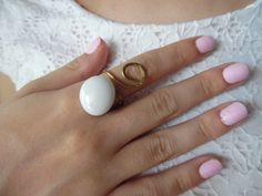 Gold ring brass ring forged ring white stone by iamatique on Etsy Gold Rings, Gemstone Rings, White Stone, Brass, Unique Jewelry, Handmade Gifts, Awesome, Etsy, Kid Craft Gifts