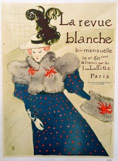 "By Henry de Toulouse-Lautrec, French, (1864-1901) Condition A Circa 1967 10 1/2 in x 14 1/2 in ""This design advertised the fortnightly 'La Revue Blanche' avant-garde artistic and literary periodical t"