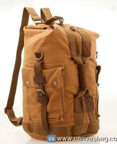 Canvas Rucksack Hiking Duffel Bag Travel Backpack Coffee