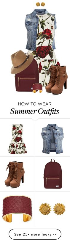 """""""Untitled #245"""" by chocolate-kissed on Polyvore featuring VILA, Dolce&Gabbana, Herschel Supply Co., Rusty and Aspinal of London"""