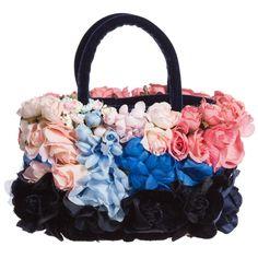 I Pinco Pallino Girls Navy & Pink Floral Handbag (15cm) at Childrensalon.com