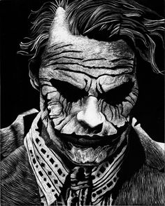"""My first attempt at Scratchboard featuring the memorable Heath Ledger from The Dark knight as Joker. I used a picture of a Hot Toys Sideshow collectible """"The Joker (Bank Robber Version 2.0)"""" as ref..."""