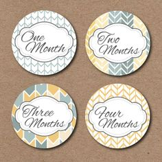 Monthly Baby Onesie Stickers Boys Chevron by StickEmUpLabels, $8.50