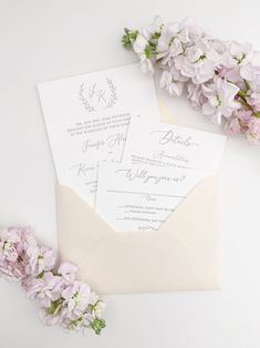 Romantic Letterpress Wedding Invitations with Blush Envelopes