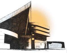 Gymnasium in Baghdad, Sketch by Le Corbusier