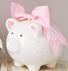 Pink Piggy Bank with Monogrammable Bow