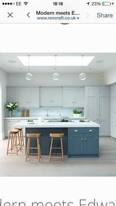 Blue Kitchen island with Seating. Blue Kitchen island with Seating. Blue and White Kitchen with Kitchen island Stools and Kitchen Island With Cooktop, Kitchen Island Storage, Kitchen Layouts With Island, Modern Kitchen Island, Kitchen Island With Seating, Rustic Kitchen, New Kitchen, Farmhouse Kitchen Island, Kitchen Island Lighting