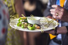 wedding canapés #london #catering  Prawn & poppyseed skewers with citrus mayonnaise