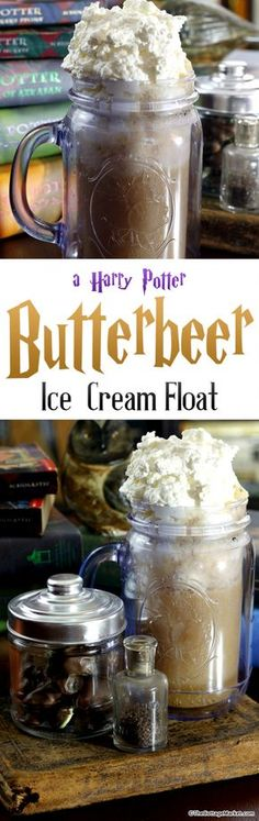 ButterBeer ice cream float with homemade butterscotch syrup Harry Potter Treats, Gateau Harry Potter, Harry Potter Food, Harry Potter Birthday, Butterbeer Recipe, Ice Cream Floats, Homemade Whipped Cream, Non Alcoholic Drinks, Root Beer