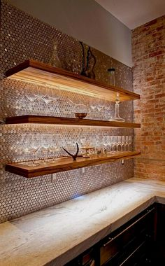 Smart use of lighting to highlight architectural features [Design: Superior Woodcraft] home bar Basement House, Basement Bedrooms, Basement Kitchen, Basement Apartment, Diy Home Bar, Bars For Home, Diy Bar, Basement Renovations, Home Remodeling