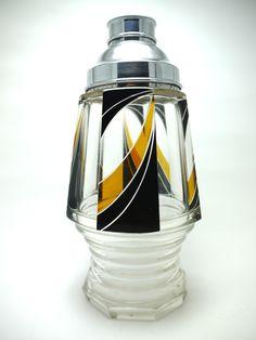 Karl Karel Palda Art Deco Bohemian Glass Cocktail Shaker 1930