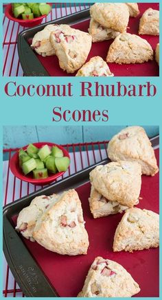 These Coconut Rhubarb Scones are something I look forward to baking every spring with my rhubarb! If you are a rhubarb lover you have to try these scones! Brunch Recipes, Sweet Recipes, Breakfast Recipes, Dessert Recipes, Breakfast Pastries, Breakfast Bites, Vegetarian Breakfast, Dessert Ideas, Healthy Scones