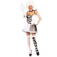 Zwart wit harlekijn jurkje voor dames. Carnavalskleding 2016 #carnaval