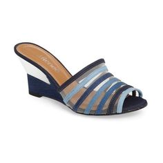 Women's J. Renee Bridgeway Wedge Sandal (13805 ALL) ❤ liked on Polyvore featuring shoes, sandals, blue multi fabric, blue sandals, wedge heel sandals, blue wedge sandals, mesh sandals and blue shoes