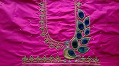 Pattu Saree Blouse Designs, Bridal Blouse Designs, Sleeves Designs For Dresses, Sleeve Designs, Sari Design, Peacock Design, Peacock Embroidery Designs, Hand Work Blouse Design, Mirror Work Blouse