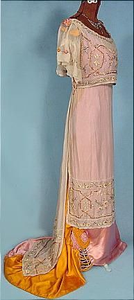 c. 1909  FORSYTH, Los Angeles, CA  Satin  & Chiffon Embroidered Gown