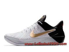 big sale 1c433 8df77 Nike Kobe A.D. BHM Chaussures Nike Basket Pas Cher Pour Homme Blanc Or