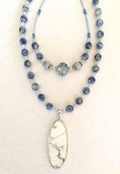 Riverside Blue Gemstone Long & Layering Boho Necklace Set with White Agate…