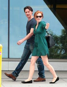 Jessica Chastain and James McAvoy on the set of The Disappearance Of Eleanor Rigby in New York