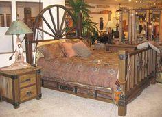 Wagon wheel bed frame
