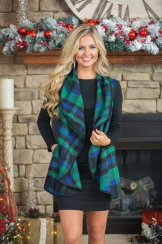 Plaid to See You Vest Green - The Pink Lily