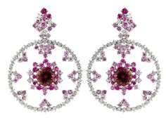 Damiani-Anima-web-May.2013,WHITE GOLD, DIAMONDS (ct 2,88), PINK SAPPHIRES AND TOURMALINE (ct 8,02) EARRINGS
