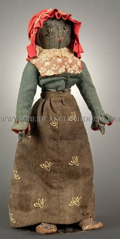 "Cloth Doll: 18"" C 1850 Doll in attire that was faithfully recreated in approx. 1870. Obviously the person that created this doll did so with skill and care, and one can only assume the image is in the likeness of a family member or loved one. Pinched nose, woolen hair, buttone eyes on an all cotton hand stitched body."
