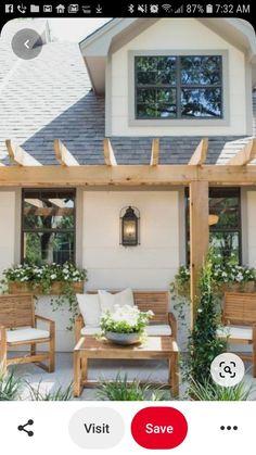Cape Cod Exterior, Pergola, Porch, New Homes, Farmhouse, Outdoor Structures, Balcony, Outdoor Pergola, Patio