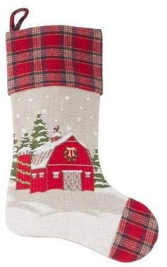 The Holiday Aisle Christmas Barn Stocking Country Christmas, Christmas Holidays, Christmas Ideas, Christmas Crafts, Quilted Christmas Stockings, Xmas Stockings, New Year Diy, Fabric Ornaments, Small Sewing Projects