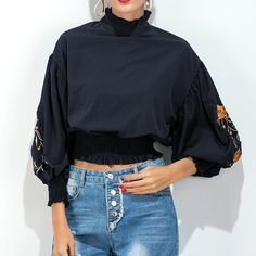 >> Click to Buy << 2017 Autumn Puff Sleeve Flower Embroidery Blouse Women Turtleneck Ruffle Trim Elastic Waist Short Shirt Blouse Blue Elegant Tops #Affiliate