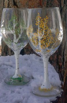 Handpainted Aspen Tree Wine Glasses by JackalopeFarm on Etsy. A perfect gift and memory of Colorado.
