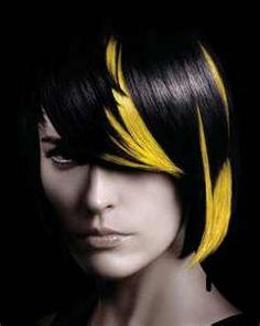 Yellow and Black hair color blocks. Creative Hairstyles, Short Bob Hairstyles, Black Hairstyles, Cool Hairstyles, Yellow Hair, Hair Color For Black Hair, Hair Colour, Elumen Hair Color, Hair Rainbow