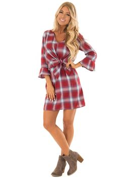 Burgundy Plaid Dress with Bell Sleeves front full body Cute Boutiques, Fabulous Dresses, Plaid Dress, Boutique Dresses, Full Body, Stitch Fix, Bell Sleeves, Burgundy, Rompers