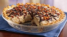 Bacon adds a twist to this chocolate and peanut butter pie that's made using Pillsbury® pie crust - a distinctive dessert.
