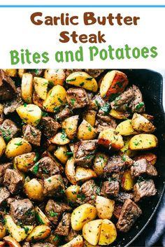 Garlic Butter Steak Bites and Potatoes