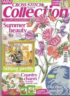 Cross Stitch Collection 159 2008 Summer Beauty; Sweet Peas, cats, butterflies, unicorn, birds