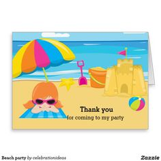 Sold this  #beach #party #cards to CA. Thanks for you who purchased this. Check more at www.zazzle.com/celebrationideas/beach