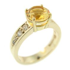 9ct Yellow Gold Golden Citrine and Diamond Ring, handmade at Cameron Jewellery by Peter Cameron