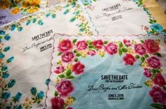Our Save-the-Dates hankies http://borrowedturquoise.blogspot.com.au/2010/01/our-save-dates-and-yudu-screenprinter.html