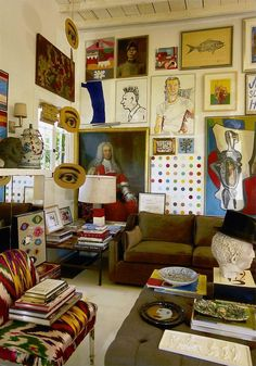 """In John Hartig's Los Angeles villa, a Damien Hirst 'Spot' painting sits cheek by jowl with a 17thC portrait. Quirky juxtapositions of objects are normal for the Libertine founder, who says of his initial vision to live in a Modernist, minimalist style: """"That lasted exactly ten minutes."""""""