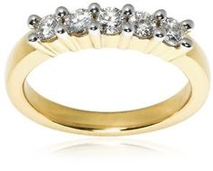 14k Yellow Gold 5-Stone Diamond Ring (1/2 cttw, H Color, SI2 Clarity), Size 7 Wedding Ring Finger REVIEW