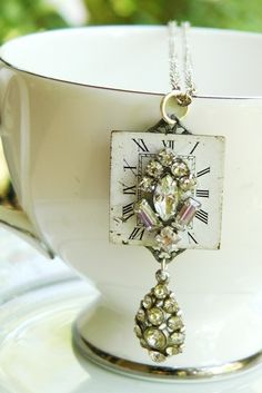 Winter white Vintage watch face necklace, handmade, steampunk, rhinestone. $22.00, via Etsy.
