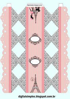 Caja caramelo Paris en rosa y negro.