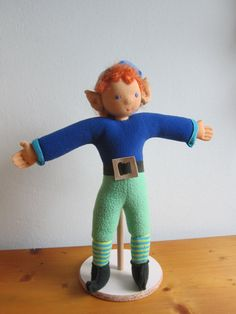 Strolch dwarf doll hobbit Elf Spock ears cobolt  by Kinderfreude