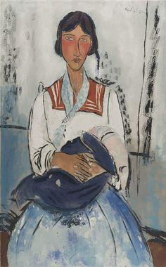 """""""Modigliani, L'Italienne (Modigliani, The Italian Woman)"""", 1926, Jacques Villon, French (1875-1963), aquatint on paper, 26 x 19 7/8 in. Gift of Etta and Claribel Cone, 1950. 1950.1129"""