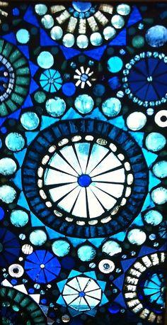 Glass Mosaic Window Panel Abstract Blue by lowlightcreations, $225.00